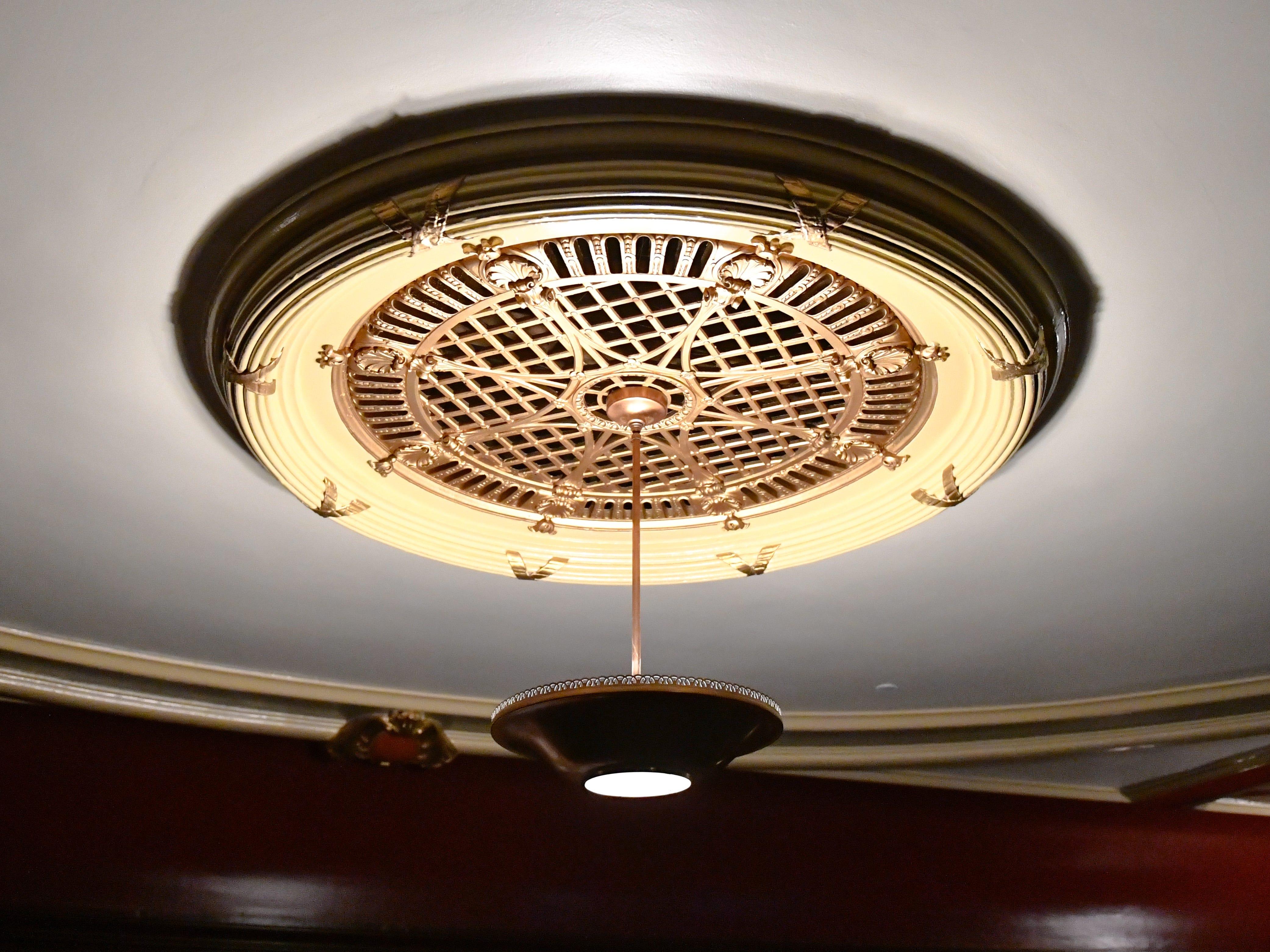 Each light in the theatre has a unique design.