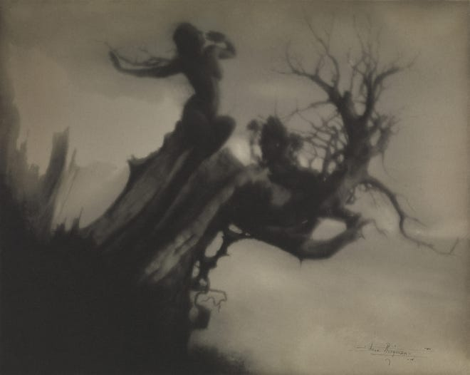 Anne Brigman's The Storm Tree, 1911, platinum print, 7 5/8 x 9 9/16 inches. The Metropolitan Museum of Art,  Alfred Stieglitz Collection, 1933. (33.43.118). Image copyright © The Metropolitan Museum of  Art. Image source: Art Resource, NY