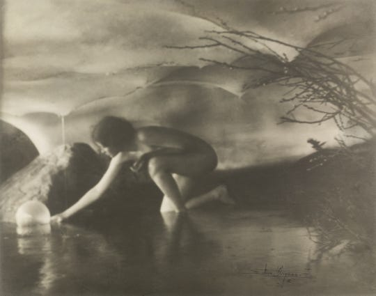 Anne Brigman's The Bubble, negative 1906, gelatin silver print, 7 ½ x 9 1/2 inches. Wilson Centre for Photography
