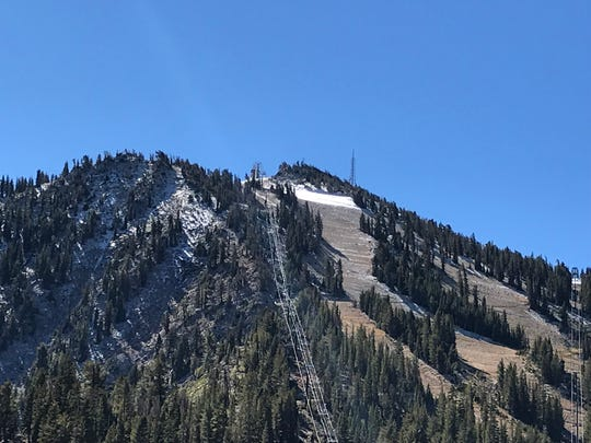 A small amounts of snow is visible at the top of the Mt. Rose ski resort on Slide Mountain. The resort has a tentative opening date of Oct. 26.