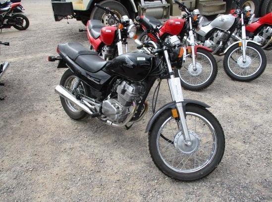A 2005 Honda Nighthawk is for sale Saturday, Oct. 13, 2018 at the Nevada government surplus sale at the Tahoe-Reno Industrial Center east of Sparks.