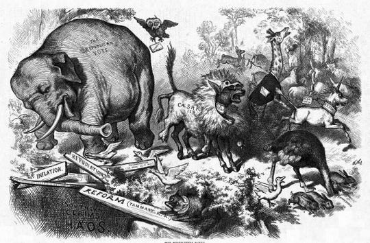 On Nov. 7, 1874, 'Harper's Magazine' published an elephant drawn by cartoonist Thomas Nast representing the Republican Party.