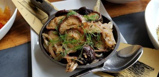 Rich, earthy Roasted Hawk Meadow Farm Shiitake Mushrooms at Graft Wine + Cider Bar.
