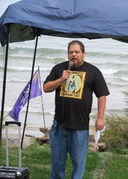 Ron Garrow speaks about Journey of the Peacemaker at the first Indigenous Peoples Day celebration at Durand Eastman Park
