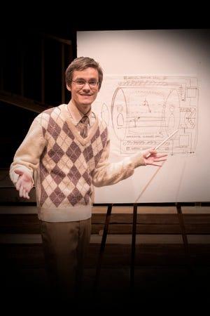 """Philo Farnsworth (Alex Clayton) and his rudimentary idea for television in a scene from Shasta College's """"The Farnsworth Invention."""""""