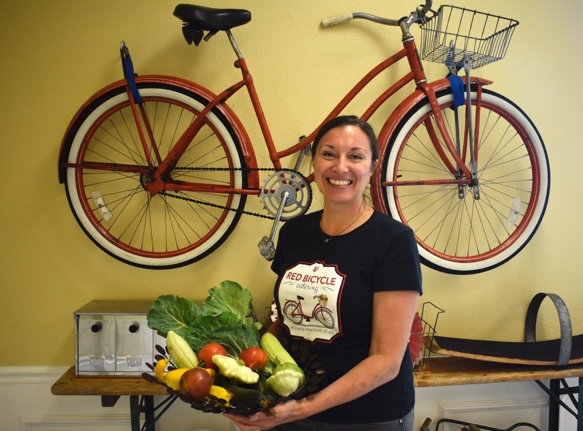 Chef Michelle Cave at her Red Bicycle Catering kitchen in downtown Redding.