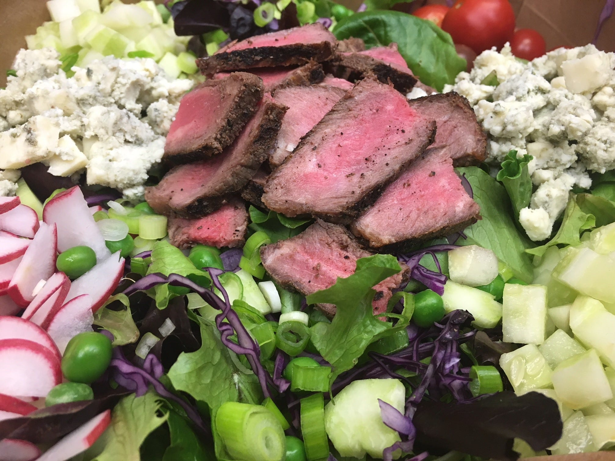 Steak salad made with local grass-fed beef and veggies.