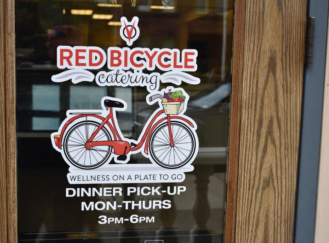 Entrance to Red Bicycle Catering on Market Street in downtown Redding.