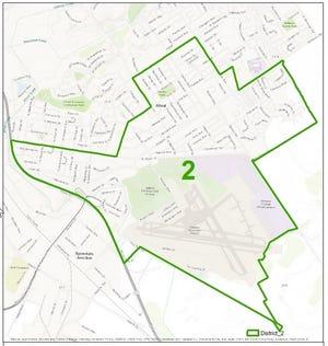 A map of Salinas' City Council District 2 boundaries.
