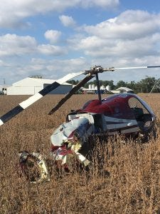 A helicopter crashed Sunday at  at Evans Produce Farm in Bridgeville. There were no injuries, police said.