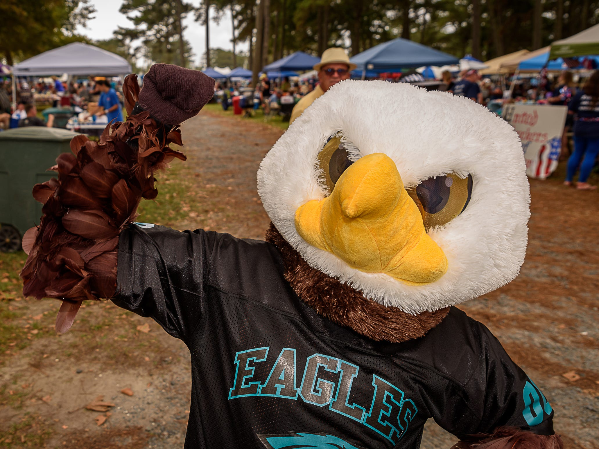 A Philidelphia Eagles fan is dressed for the occasion at Chincoteague Oyster Festival.