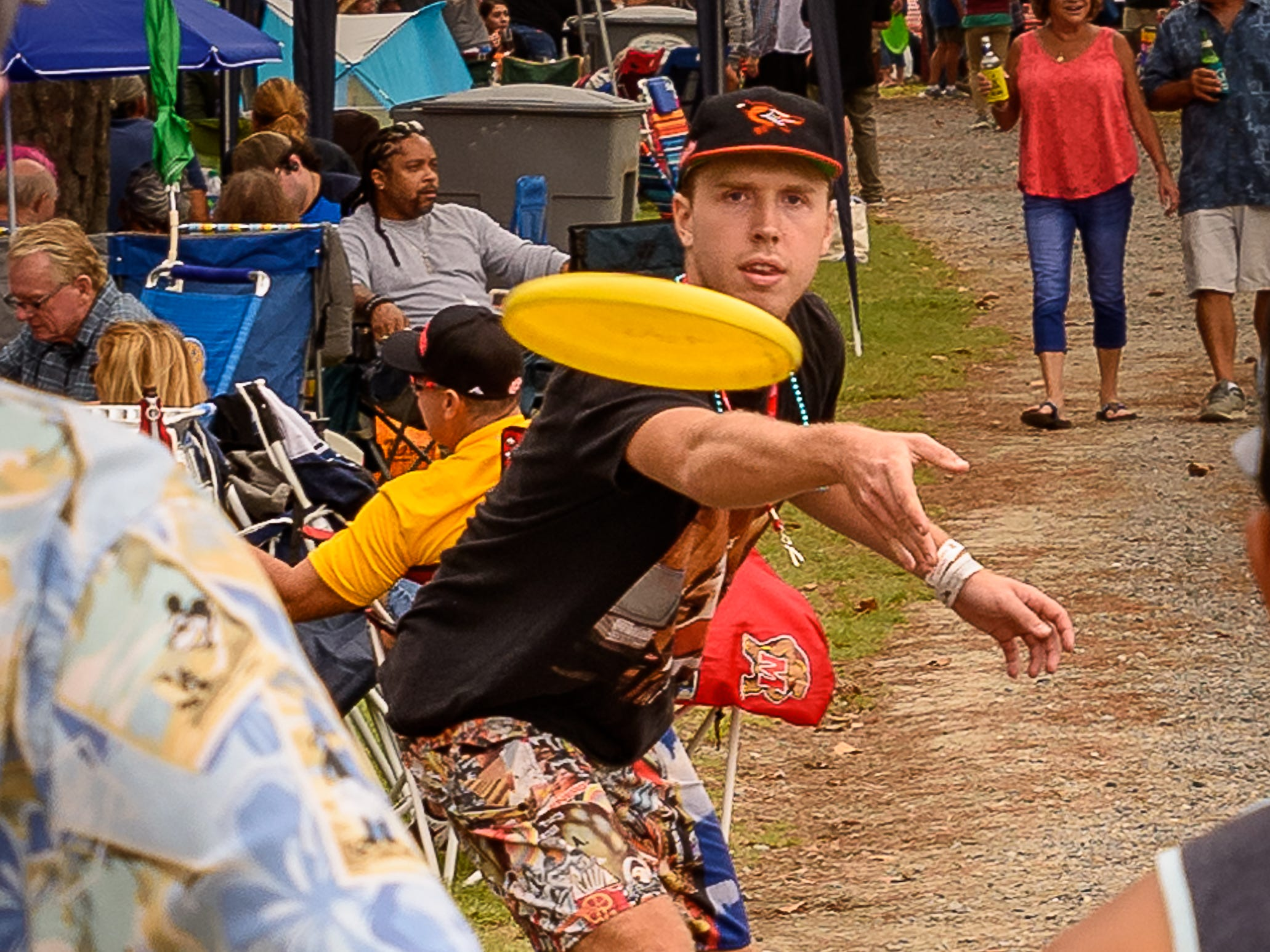 A little Frisbee game is under way to build up the appetite at the Chincoteague festival.