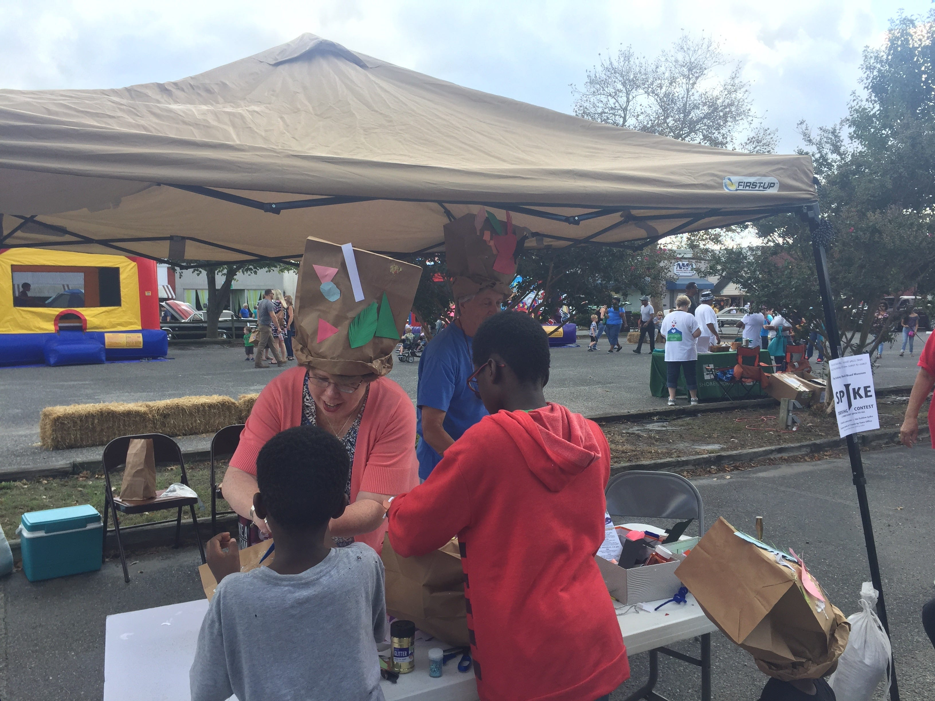 Onancock had a booth where children  could decorate paper hats at the Golden Spike Railroad Festival in Parksley, Virginia on Saturday, Oct. 6, 2018. The festival was a revival of Parksley Fall Festivals held for many years in the past.