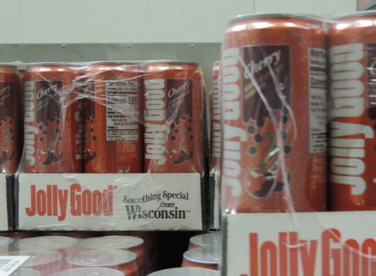 One of the many unique flavors of Jolly Good Soda is cherry. This is a 12 pack displayed inside the Krier Foods soda packaging facility.