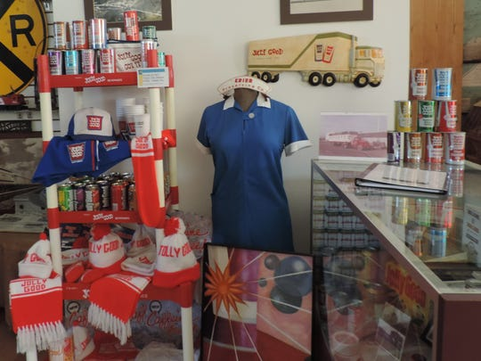 The Jolly Good Soda display inside the Random Lake Area Historical Society museum has vintage cans and memorabilia as well as documentation about Krier Foods, the soda packaging company that produces Jolly Good Soda.