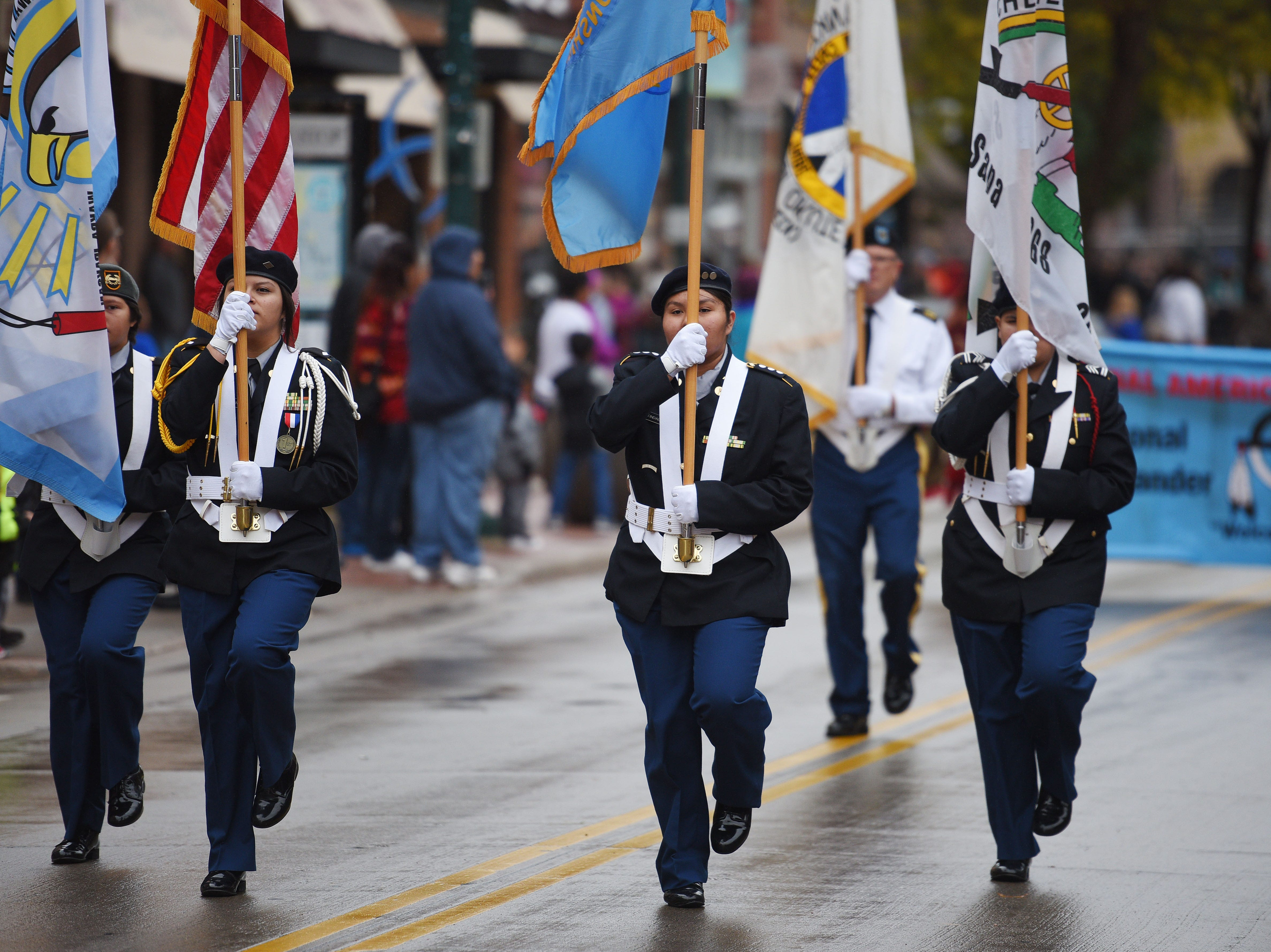 "Flandreau JROTC lead the Native Americans' Day parade Monday, Oct. 8, in downtown Sioux Falls. The theme this year was ""Honoring Our Elders."""
