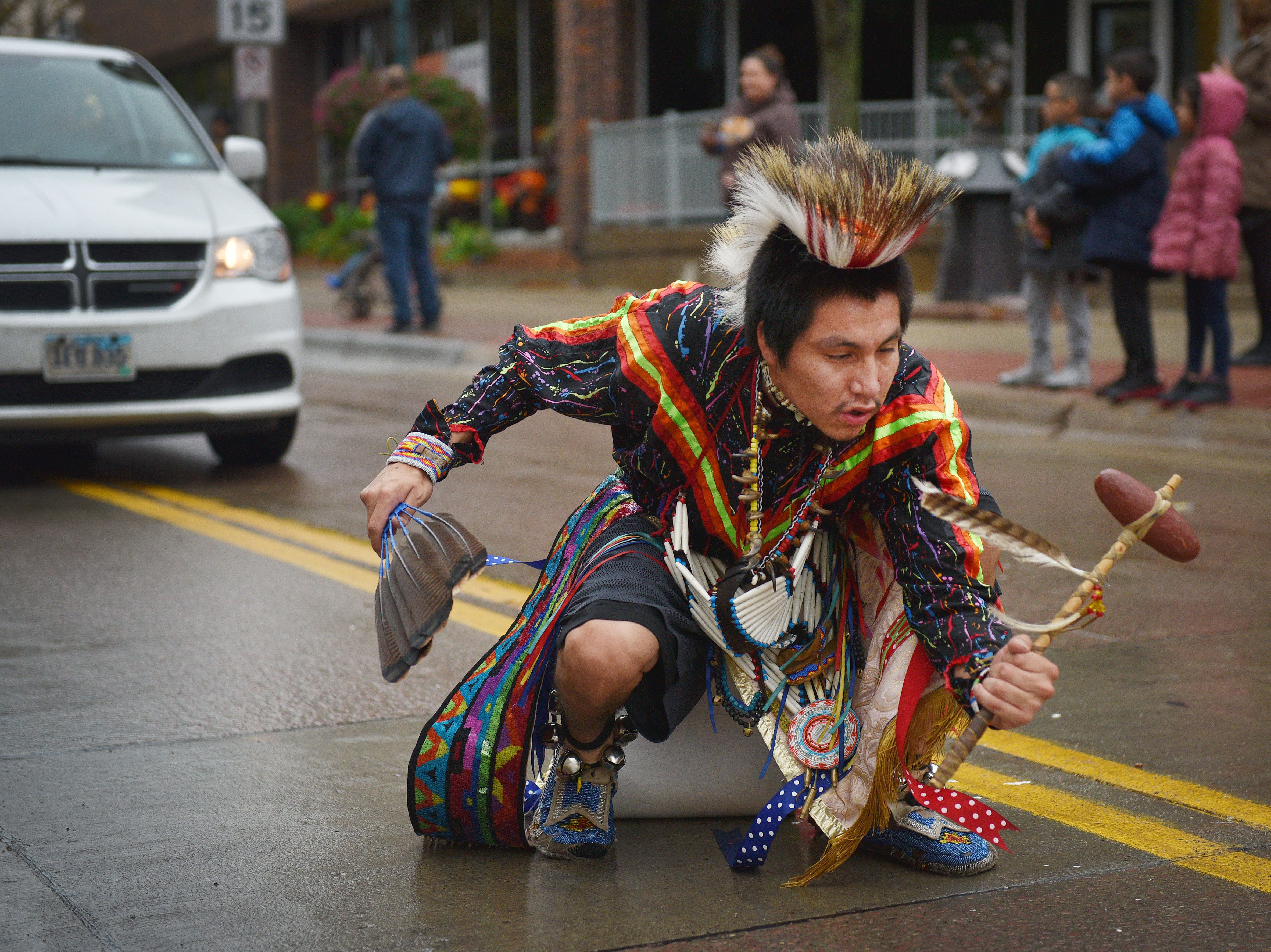 "Thomas Billie, Rosebud Sioux Tribe, dances in the Native Americans' Day parade Monday, Oct. 8, in downtown Sioux Falls. The theme this year was ""Honoring Our Elders."""