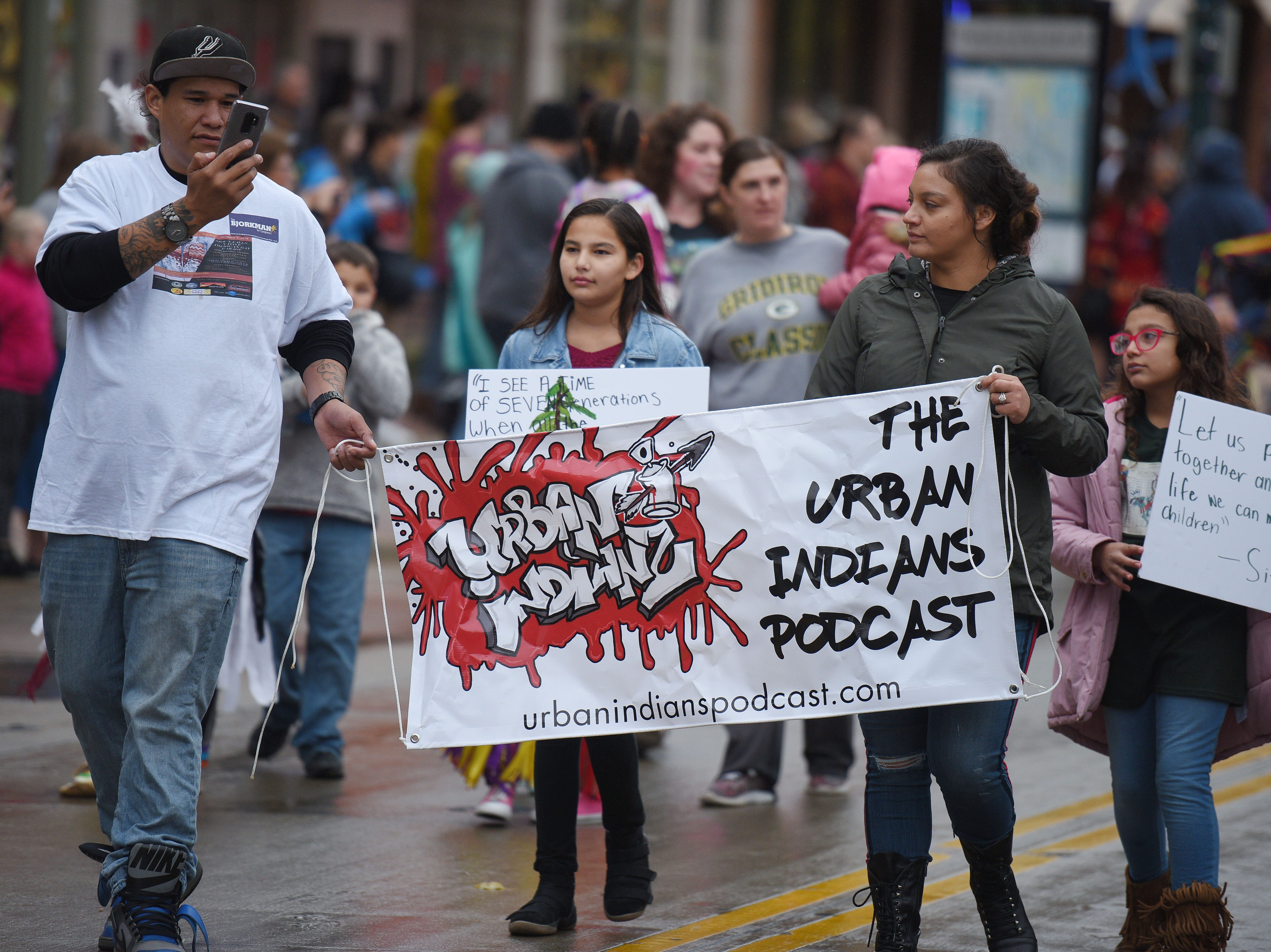 "The Urban Indian's Podcast marches in the Native Americans' Day parade Monday, Oct. 8, in downtown Sioux Falls. The theme this year was ""Honoring Our Elders."""