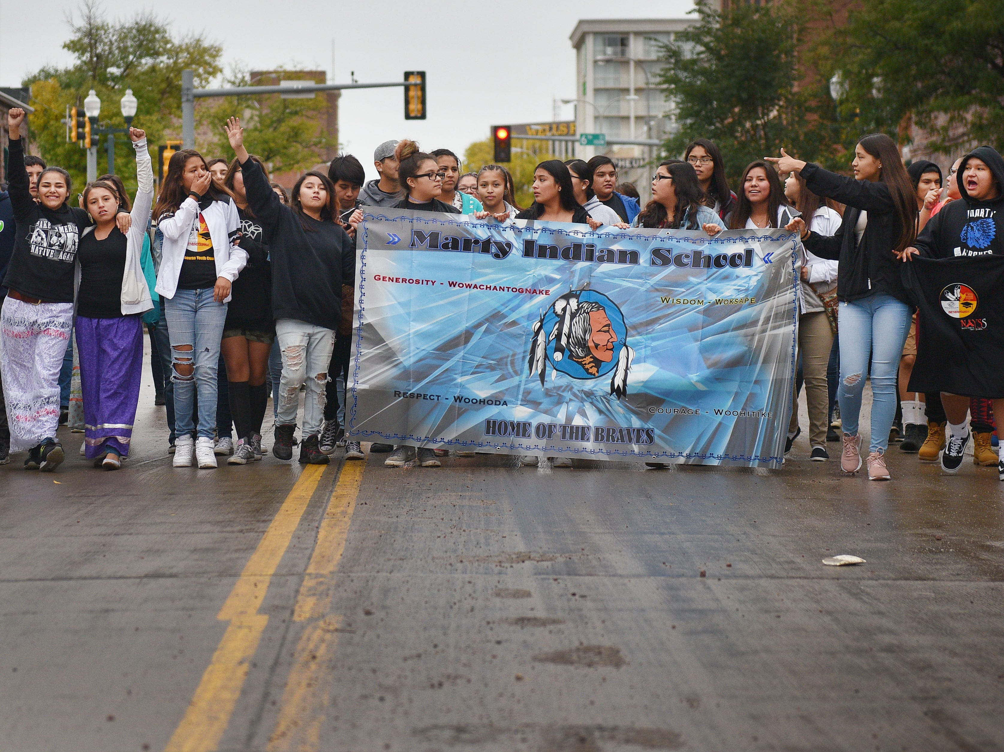 "Marty Indian School participates in the Native Americans' Day parade Monday, Oct. 8, in downtown Sioux Falls. The theme this year was ""Honoring Our Elders."""