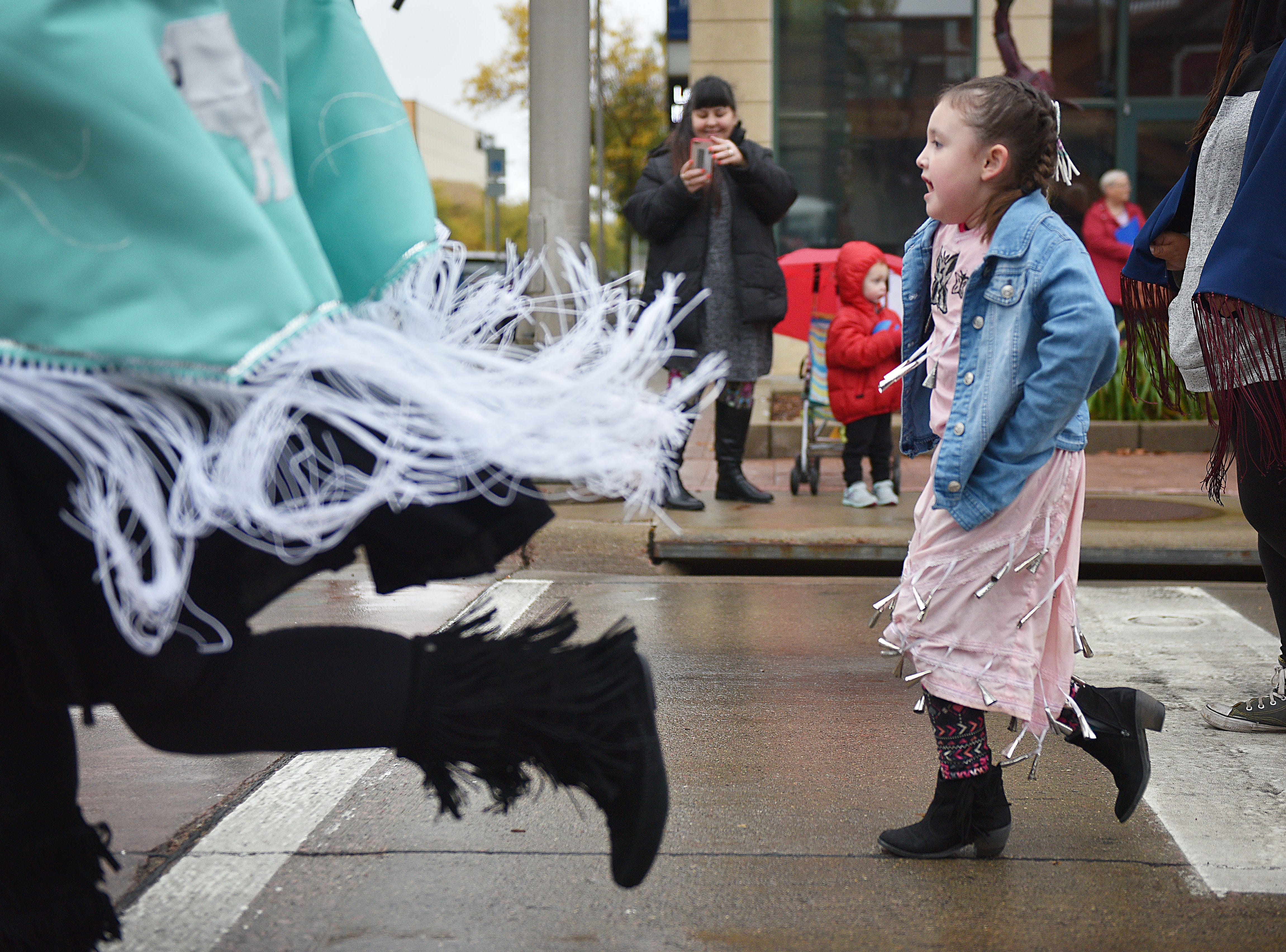 """South Dakota tribes danced in the Native Americans' Day parade Monday, Oct. 8, in downtown Sioux Falls. The theme this year was """"Honoring Our Elders."""""""