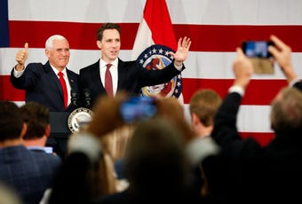 Vice President Mike Pence speaks at fundraiser for Josh Hawley in Springfield on Monday