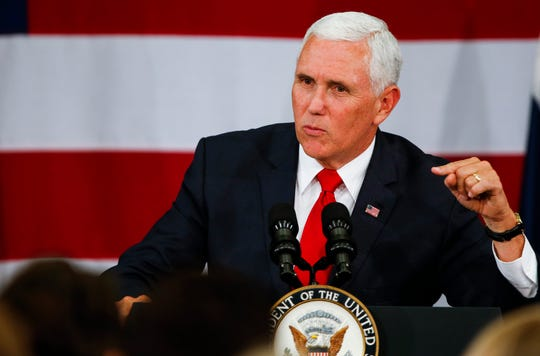 Vice President Mike Pence speaks at a private fundraiser in Springfield, Mo. for U.S. Senate candidate Josh Hawley, who is running against Sen. Claire McCaskill, at the Oasis Hotel & Convention Center on Monday, Oct. 8, 2018.