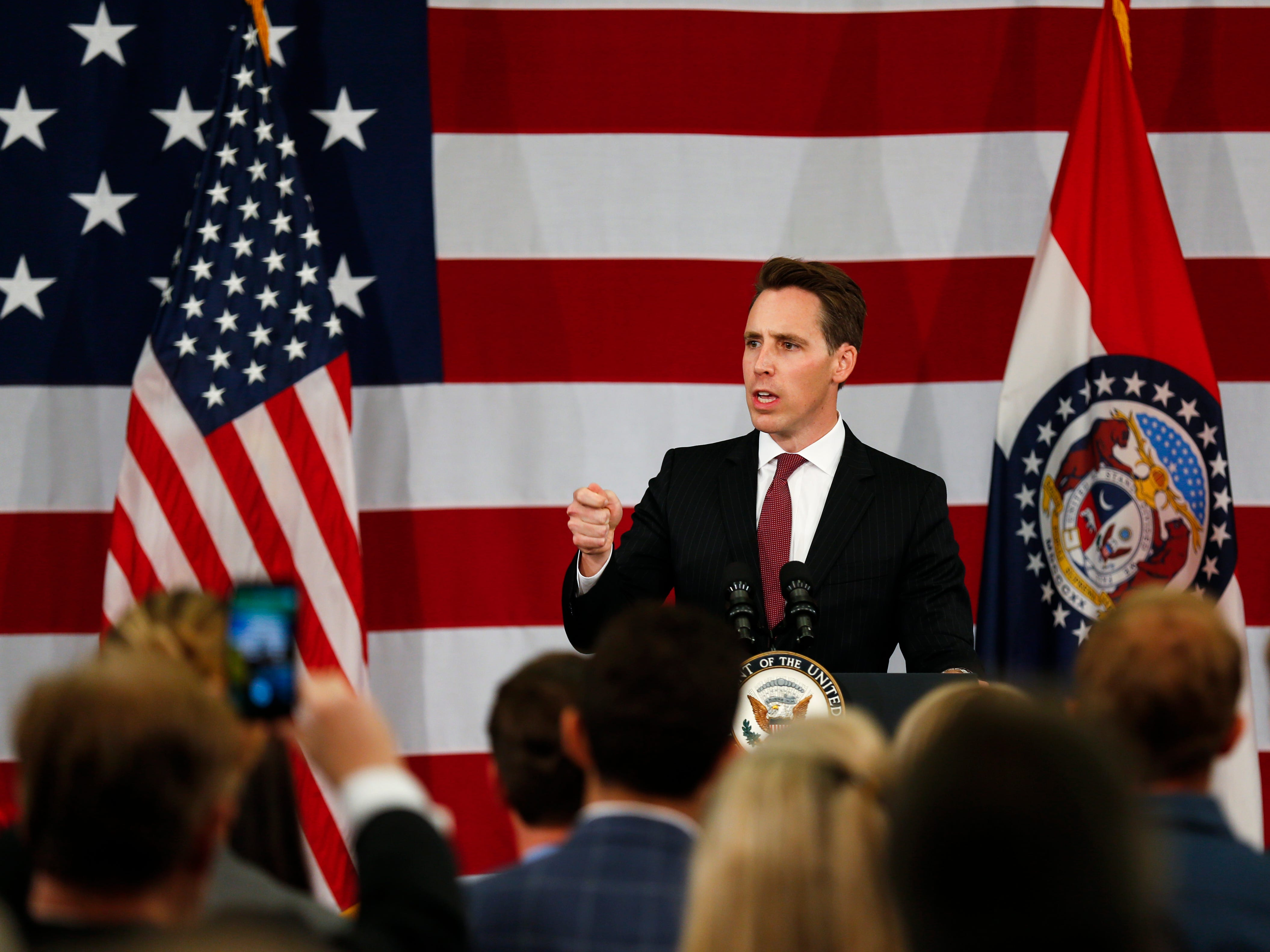 U.S. Senate candidate Josh Hawley speaks at a private fundraising event with Vice President Mike Pence at the Oasis Hotel & Convention Center in Springfield, Mo. on Monday, Oct. 8, 2018.