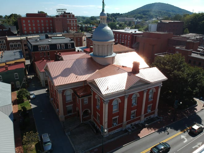 The Augusta County Courthouse new copper roof construction was completed on September 17, 2018.