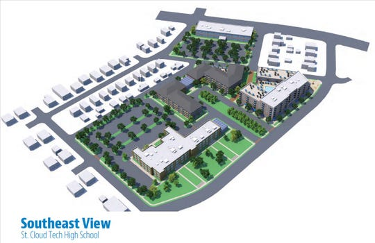 The catalyst site plan for redevelopment shows potential plans for Technical High School once the school district vacates the site, including a space using the 1917 and 1938 portions of Tech and two multi-family residential buildings that connect to Eastman Park.