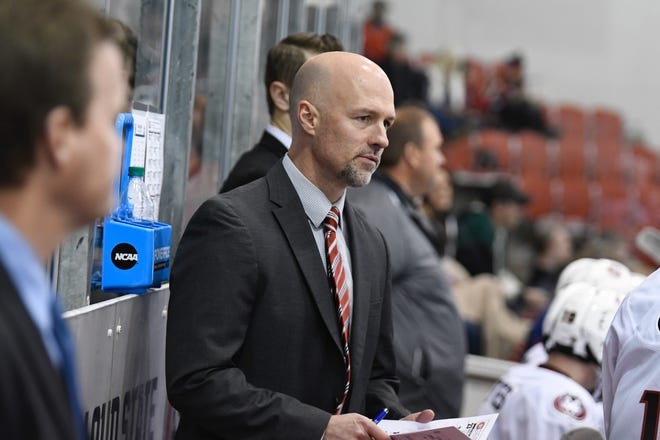 Brett Larson was behind the bench for the St. Cloud State men's hockey team for the first time Sunday at the Herb Brooks National Hockey Center. Larson was a college hockey assistant coach for eight seasons at Minnesota-Duluth and Ohio State before taking the St. Cloud State job.