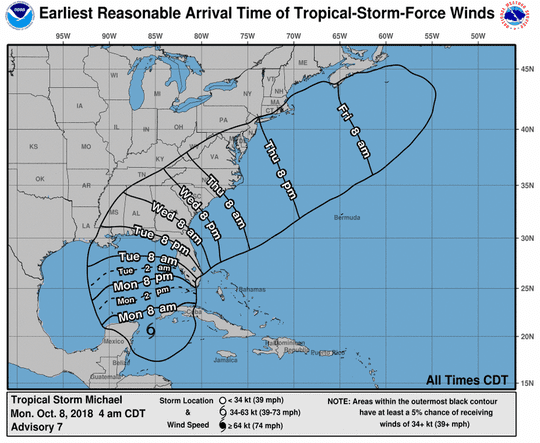 The possible arrival time for tropical storm force winds associated with Michael.