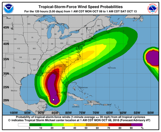 Wind speed probability map for Tropical Storm Michael.