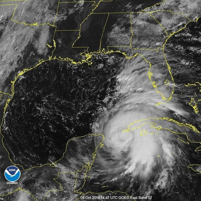 A satellite view of Hurricane Michael.