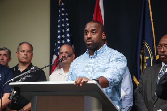 Nick Maddox, Leon County commission chairman, speaks during a press conference at the Public Safety Complex in Tallahassee, Fla., as Hurricane Michael heads toward the Florida coast Monday, Oct. 8, 2018.