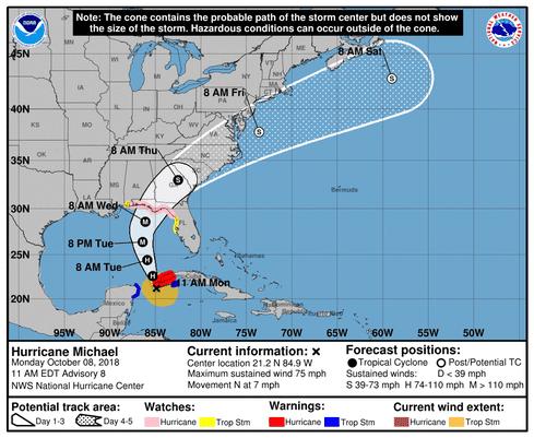 Hurricane Michael Forms Scott Warns Storm Will Be Life Threatening - Us-hurricane-landfall-map
