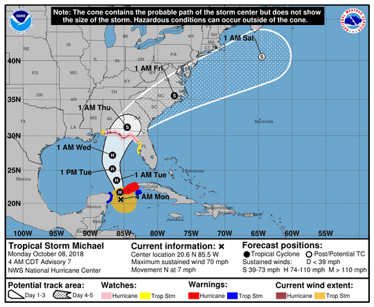 The officials Monday morning track for Hurricane Michael.