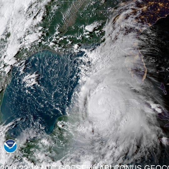 A satellite visualization of Hurricane Michael.