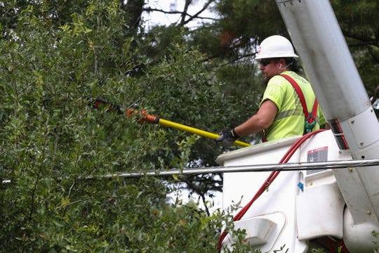 Robert Crum, an employee with Asplundh Tree Experts trims branches near power lines along Apalachee Parkway in Tallahassee, Fla. as Hurricane Michael heads toward the state's coast Monday, Oct. 8, 2018.