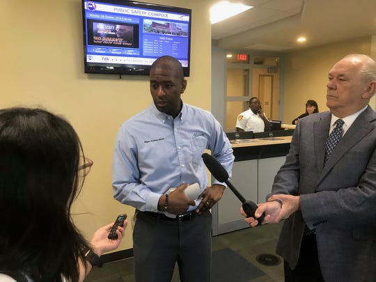 Tallahassee Mayor Andrew Gillum talks to reporters about Hurricane Michael preparations at the Public Safety Complex in Tallahassee, Florida, on Tuesday, Oct. 9, 2018.