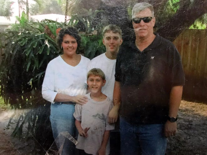 Mary Jo and Blake Hadley, with their sons Tyler (front) and Ryan. At 17-years-old, Tyler Hadley would later murder his parents in 2011 with a claw hammer. Hadley was sentenced to two life terms in 2014 after a nine-day hearing, but an appeals court tossed out his punishment and sent the case back for a new sentence.