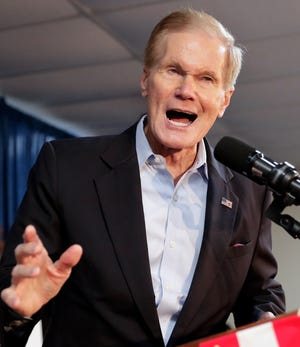 Sen. Bill Nelson, D-Fla., speaks during a Democratic Party rally Friday, Aug. 31, 2018, in Orlando, Fla.