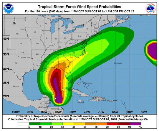 Tropical storm force wind probabilities as of 8 p.m. Sunday