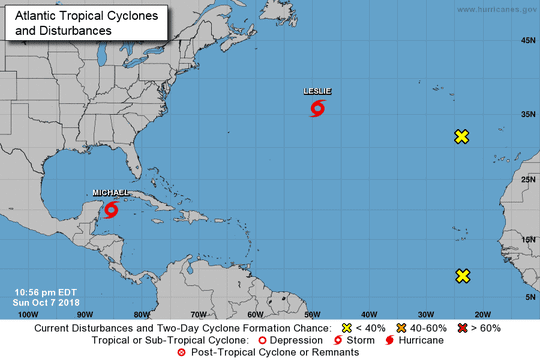 The tropics and the Atlantic as of 11 p.m. Sunday