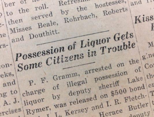 Liquor Possession Nov 11 1927