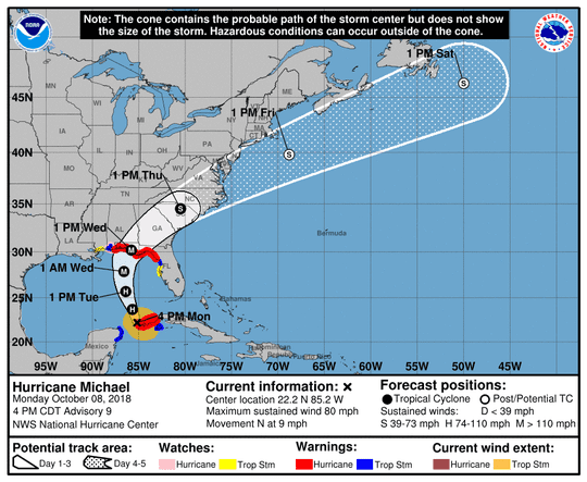 Projected path of Hurricane Michael as of 5 p.m. Monday, Oct. 8, 2018.