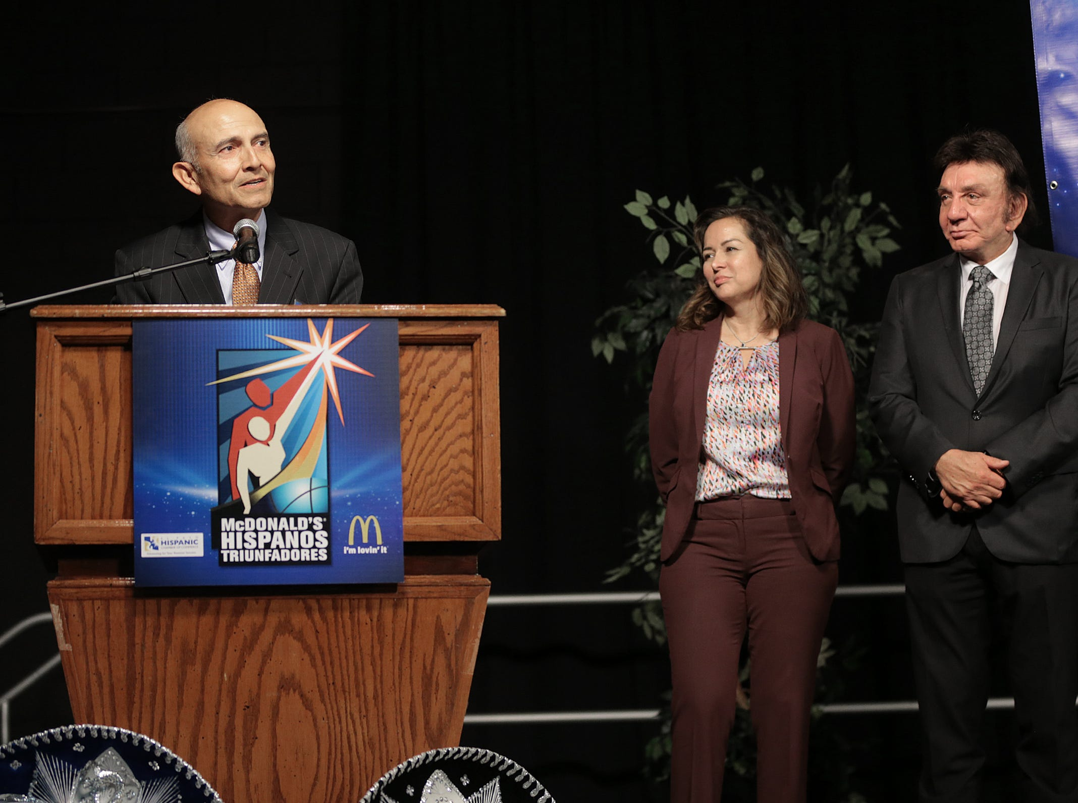 Judge Phillip Martinez speaks after accepting his Hispanos Triunfadores Award Monday. Martinez has been a United States District Judge in the United States District Court since his appointment in 2002.