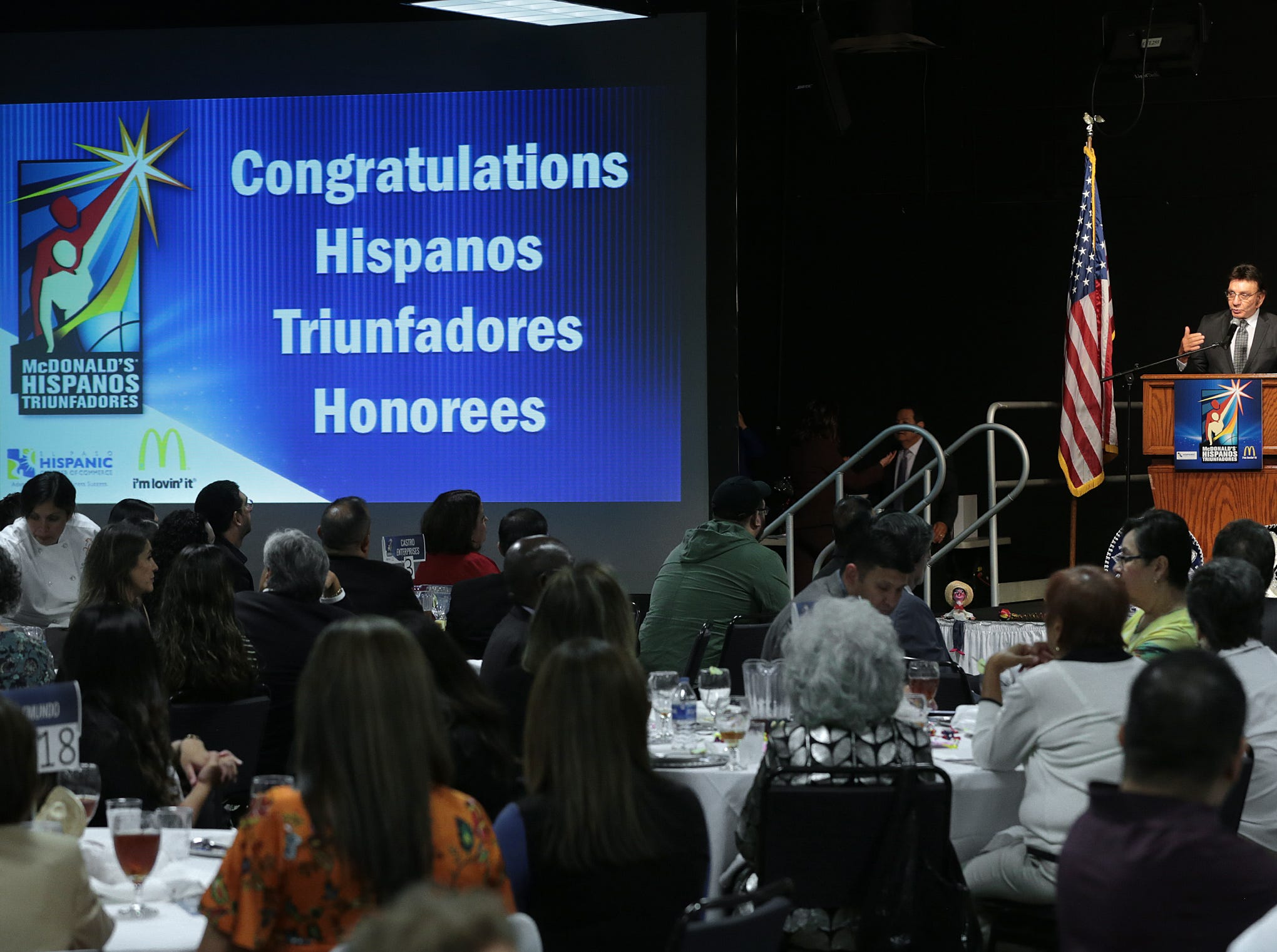 Richard Castro speaks at the Hispanos Triunfadores Awards Monday.