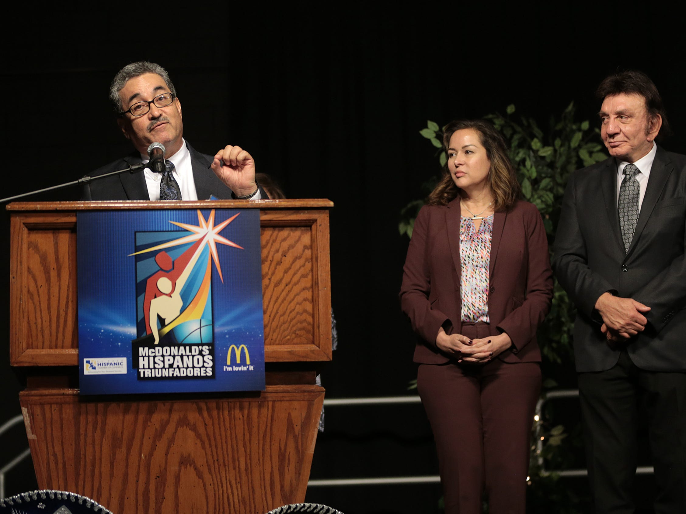 Dr. Gilbert Moreno speaks after accepting his Hispanos Triunfadores Award Monday. Dr. Moreno is the lead strategist and consultant for Prestice Consulting Services and is a professional advisor to five T-STEM    programs at area high schools and middle schools.