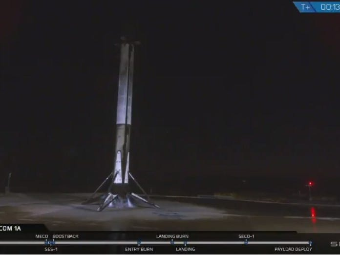 This image from SpaceX shows the Falocn 9 rocket after it landed back at Vandenberg Air Force Base Sunday night, the first such return-to-launch landing on the West Coast.
