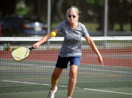 Merle Gifford of Bridgeton plays pickleball at Pagluighi Park in Vineland on Wednesday, October 3, 2018.